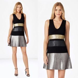 $435 Parker Bria Knit Gunmetal Gold Silver Dress